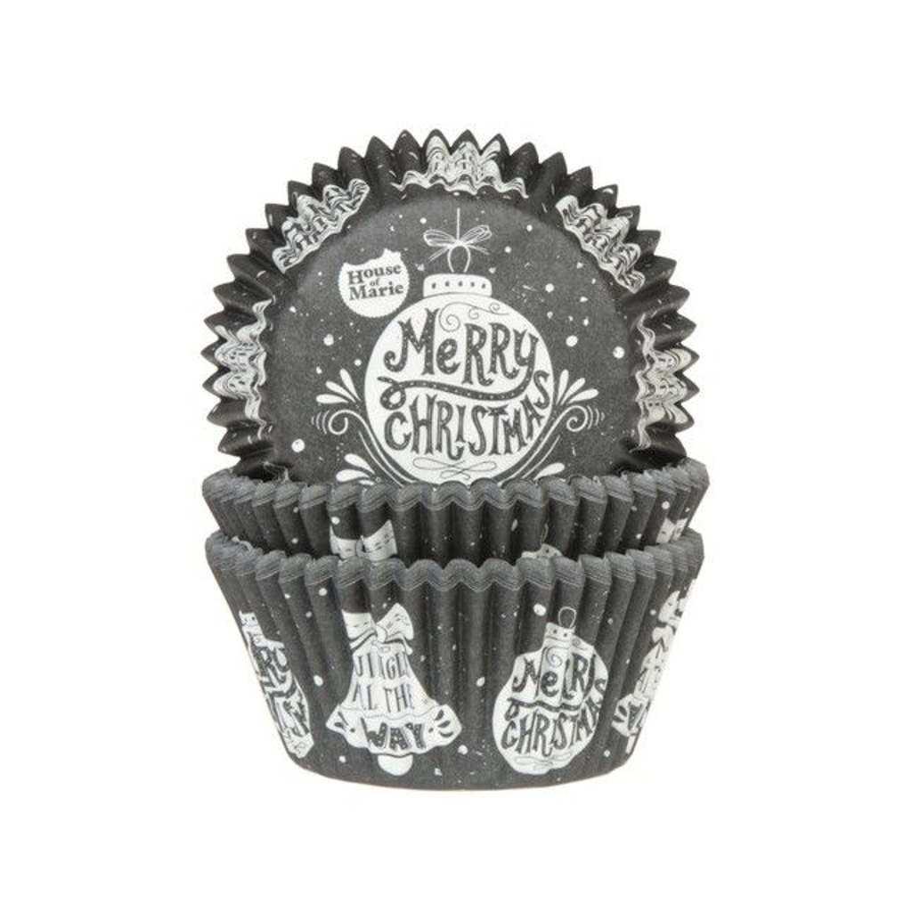 Hom 50 Caissettes Cupcakes Boules Noël Blanc Sur Fond Noir Univers