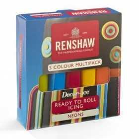 Renshaw - Pates à sucre couleurs néon 5 x 100 gr