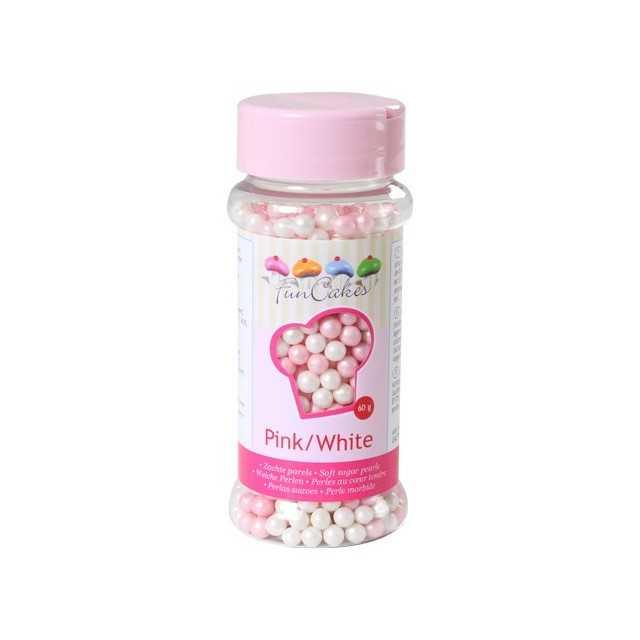 Perles de sucre rose et blanc Funcakes 80 gr