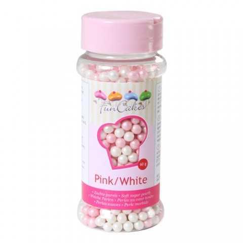 Microbilles de sucre rose et blanc Funcakes 80 gr
