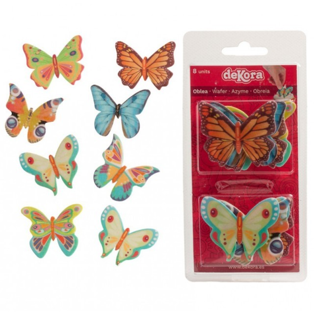 8 décorations papillons comestibles - 5x4,5 CM