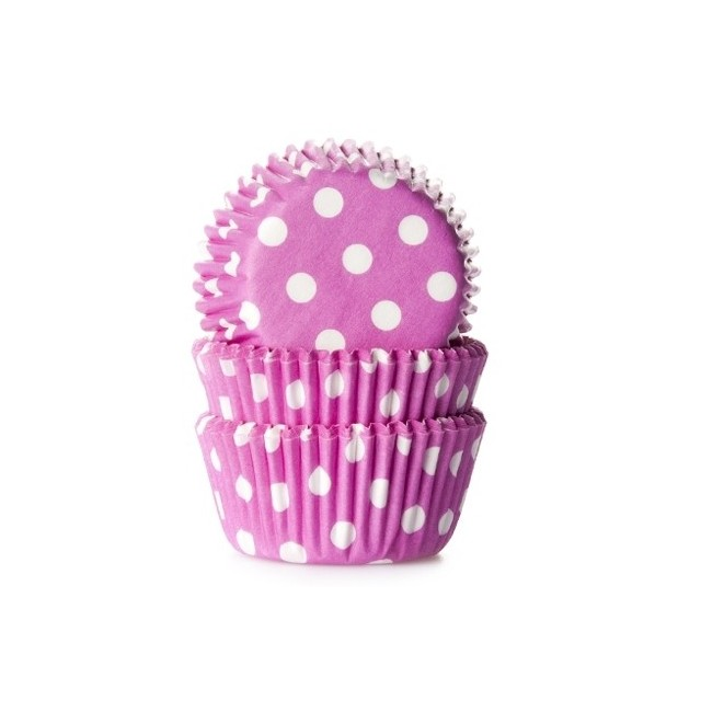 House of Marie 50 caissettes cupcakes à pois rose