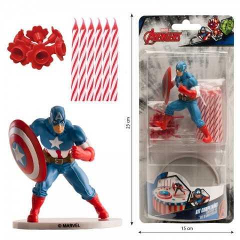 Kit PVC avec bougies Captain America pour gâteau d'anniversaire