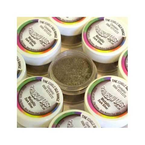 Colorant alimentaire en poudre argent Metallic dark silver Edible Silk
