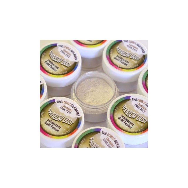 Colorant alimentaire en poudre Irridescent Gold Fusion Edible Silk Rainbow Dust