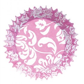 54 Caissettes cupcake Elegance Rose et blanc Cullpit