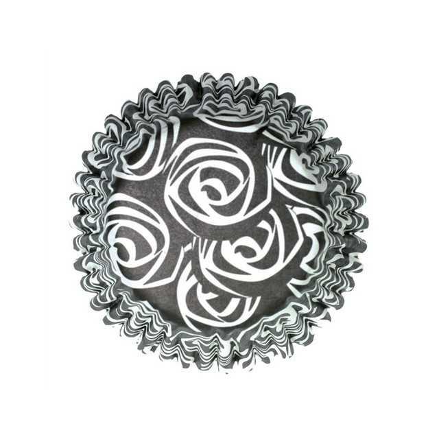 54 Caissettes cupcake Roses Noir et blanc