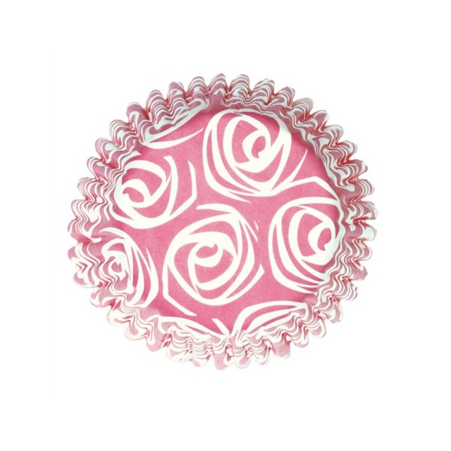 54 Caissettes cupcake Roses Rose et blanc