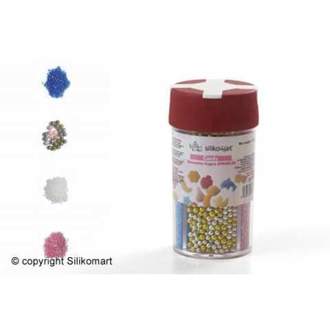 Boite distributrice de formes en sucre 4 séries perles et sucre coloré Wonder Cakes