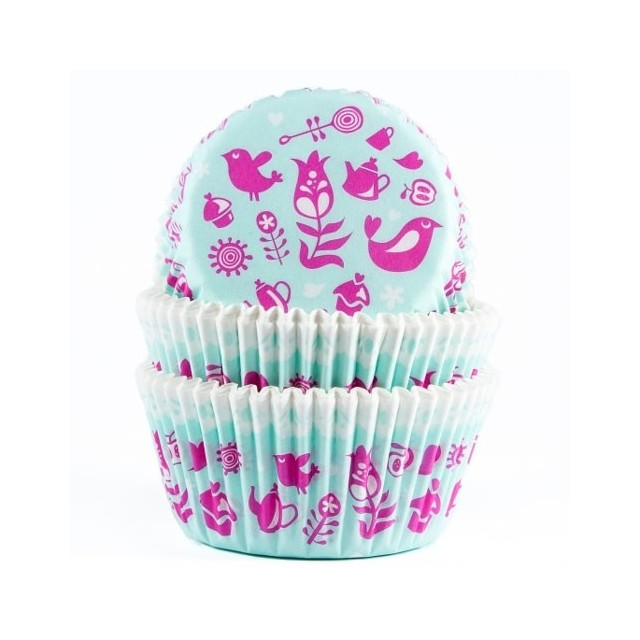 Caissettes cupcake imprime rose fond bleu House of Marie (x50)